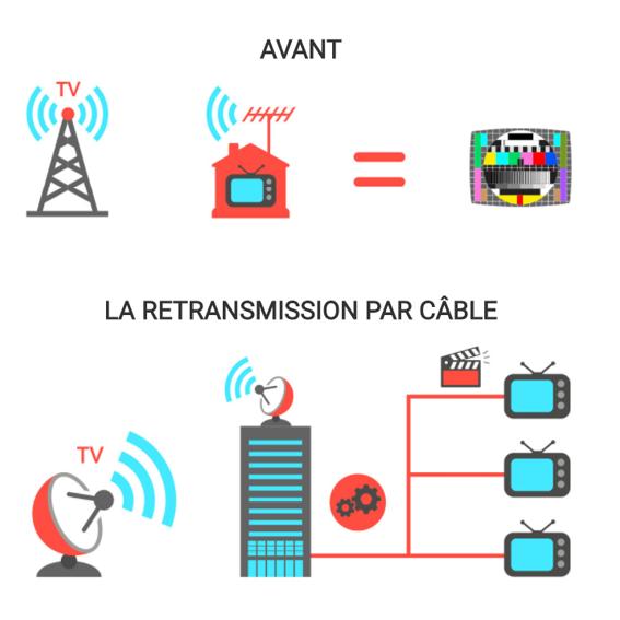 Droits de câble: Infographie représentant l'évolution de la cablotransmission